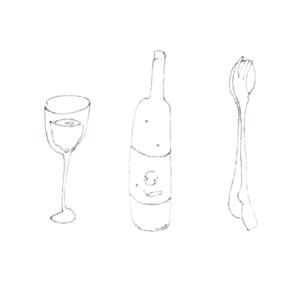 Glass, bottle, spoon, and folk.
