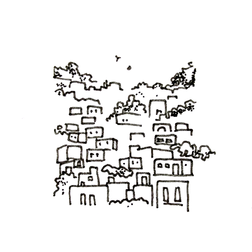 Buildings in forest.