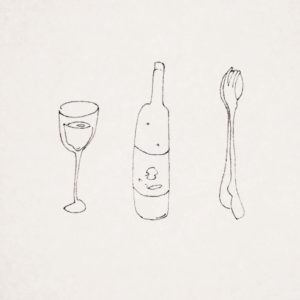 glass,bottle,folk, and spoon