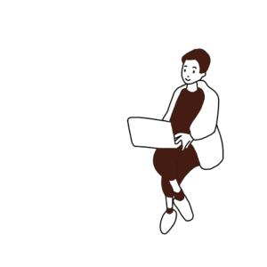 パソコンで仕事をする男性。