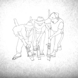 穴を掘る3人の男たち