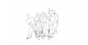 木製の道具を使って穴を掘る3人の男