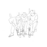 ペンのイラスト:木製の道具で穴を掘る3人の男
