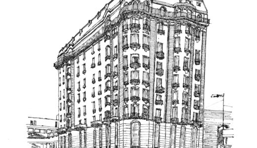 ペンのイラスト:モンテビデオの古いビル