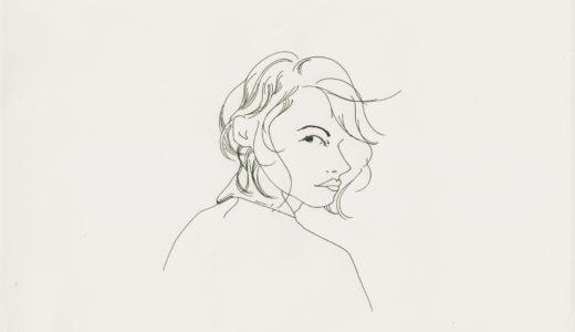 ペンのイラスト:肩越しに右目で右を見る女