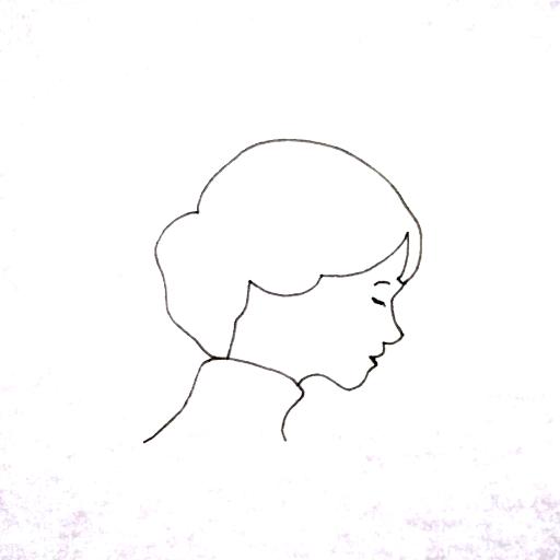 38才のペン画(目を閉じる女)