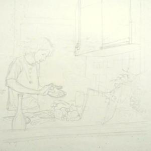 19才の絵(キッチンで一人料理する男)