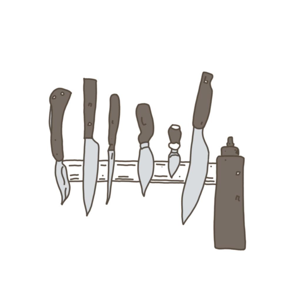 6本のナイフとオイルチューブ。刀に色