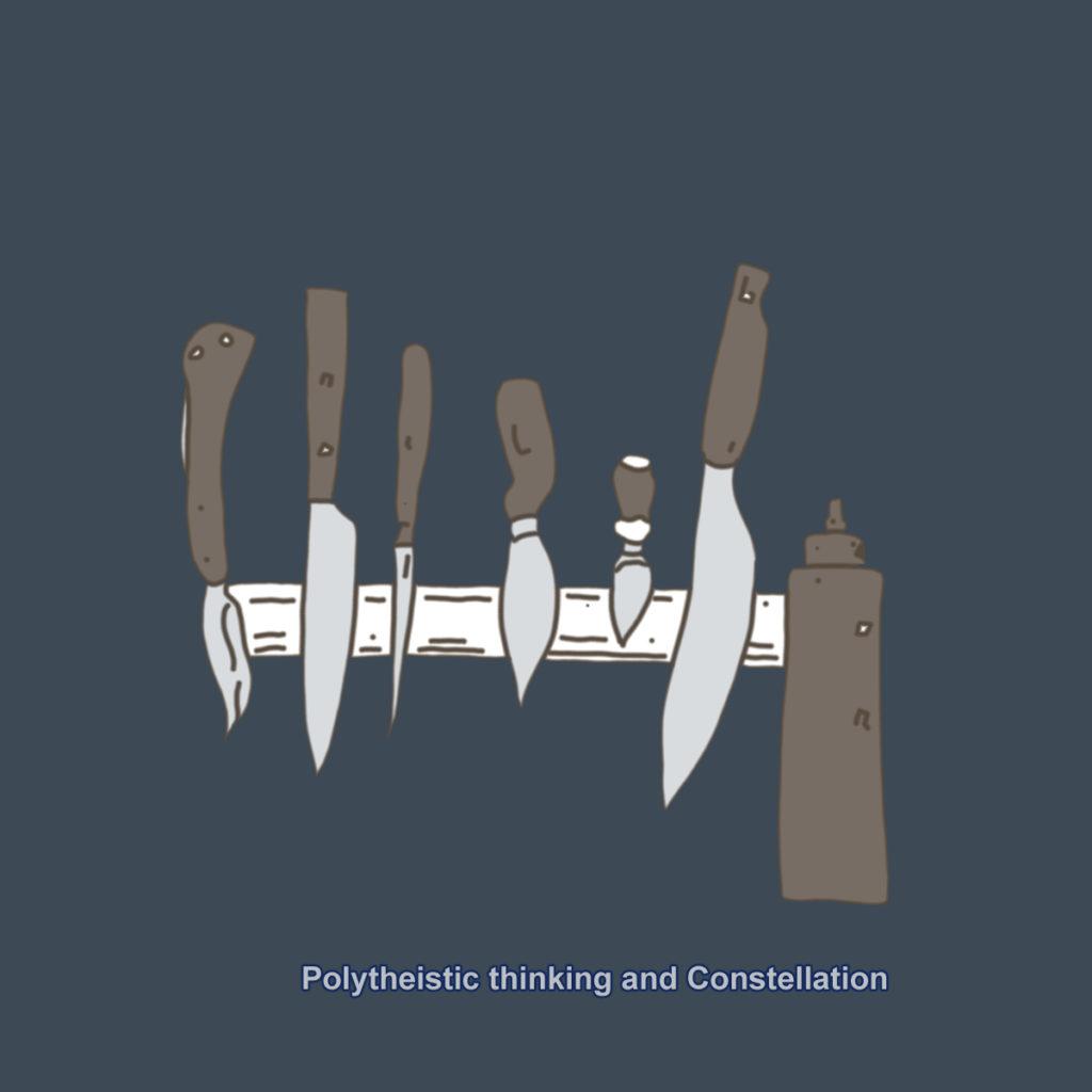 6本のナイフとオイルチューブ。背景に色と文字