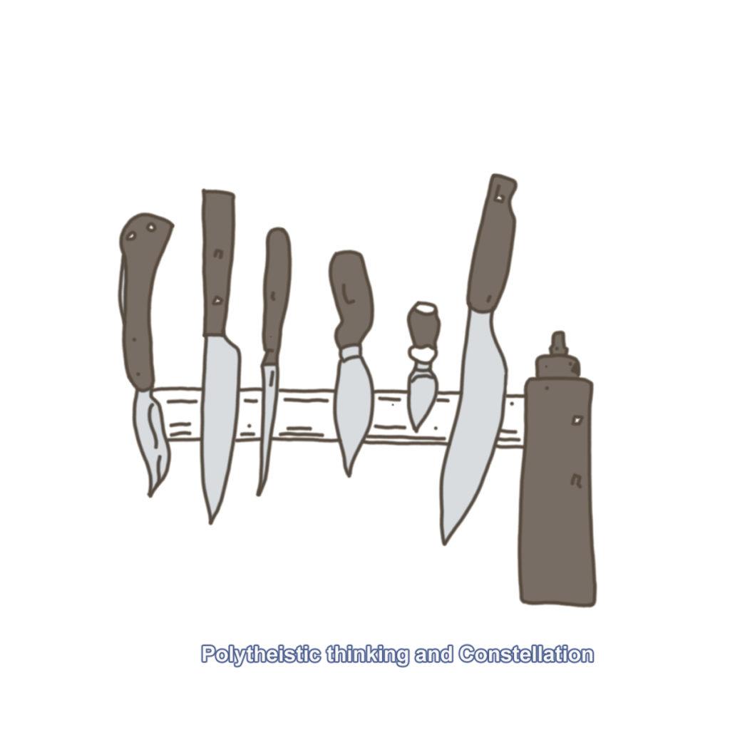 6本のナイフとオイルチューブ。テキスト付き
