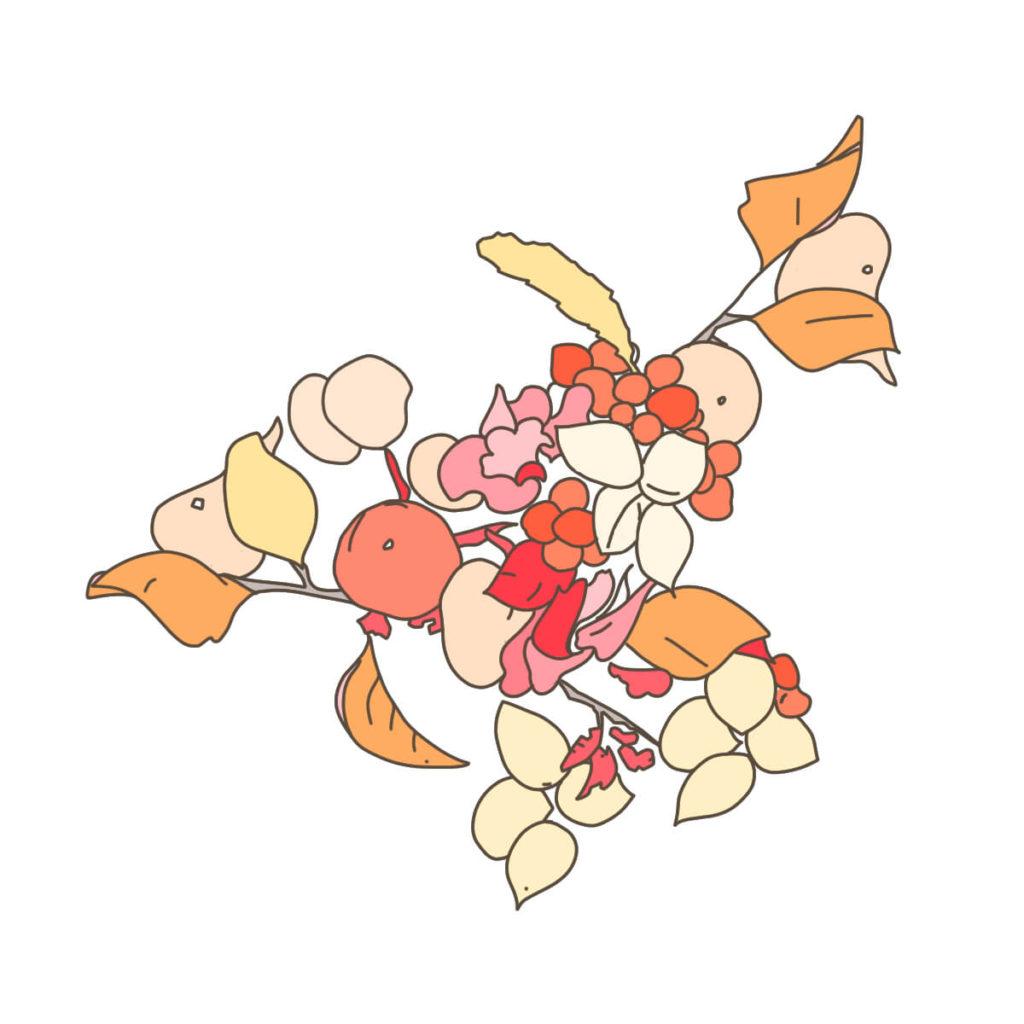 2016年に描いた植物のイラスト。①ペンタブレットで線を描く。②配色ツールを使って色を選ぶ。③全体の配色を整える。