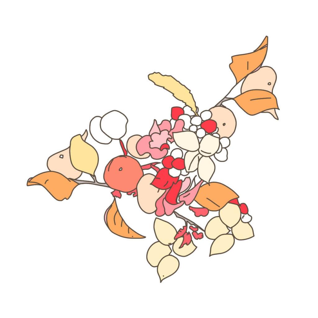 2016年に描いた植物のイラスト。ペンタブレットで配色する。外側の木の葉を配色する。