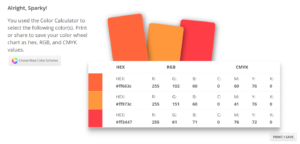 sessioncollegeのcolorcalculatorを使う。色が決まったらGet Color Schemeをクリックするとカラースキーム(案)の情報が表示される。