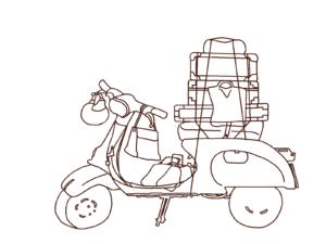 【イラスト】ベスパの下書き(with luggage, nor color)