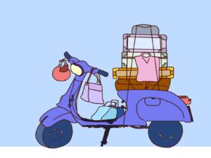 【イラスト】ベスパと荷物と青空