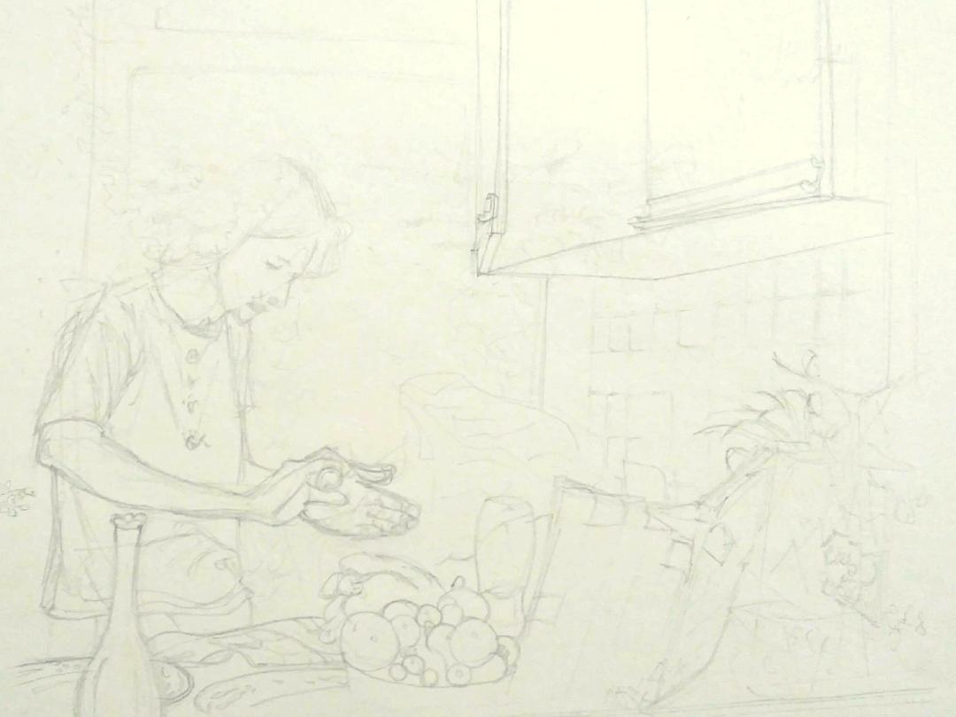 19才のときに描いたイラスト(キッチンで一人料理する男)
