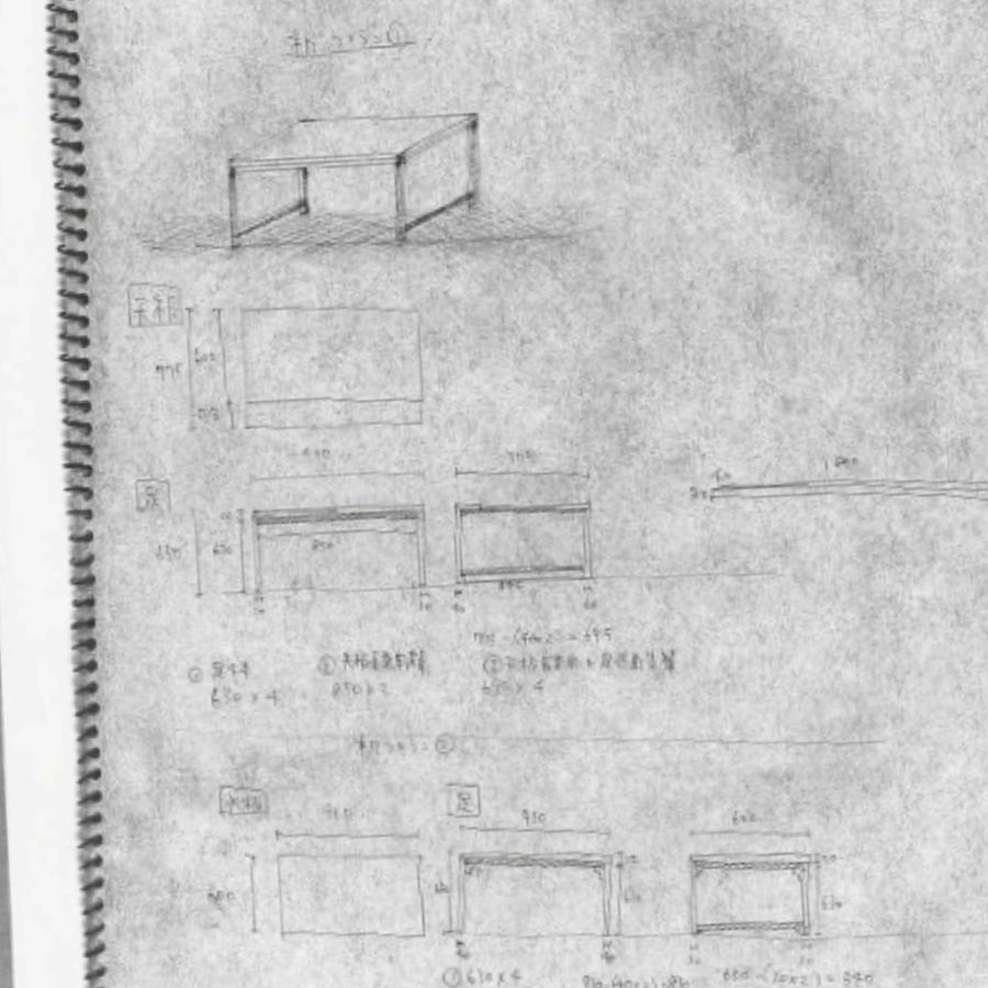 銀月南3号室用に制作した机の図面