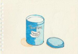 カレル・チャペックの青い缶の水彩画