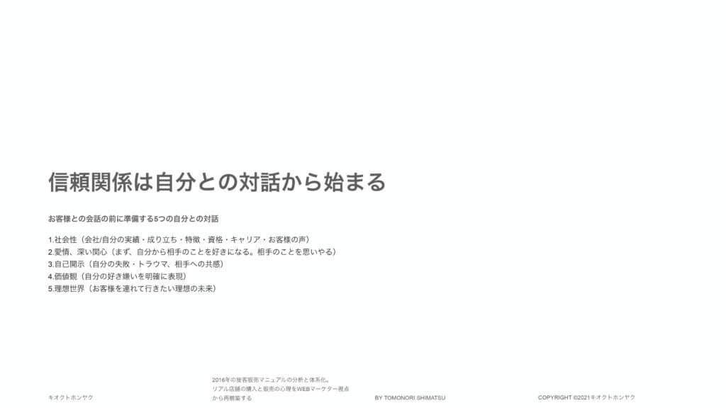 2016年の接客販売マニュアルの分析と体系化_自己対話